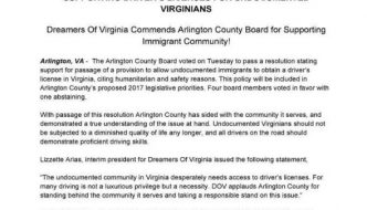 Arlington County Board Passes a Resolution Supporting Driver's Licenses for Undocumented Virginians!
