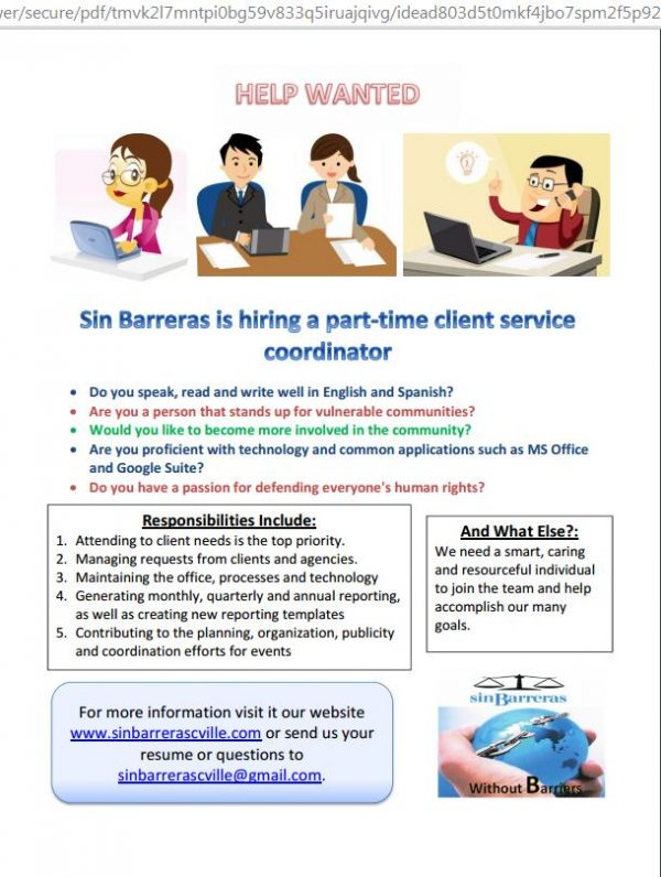 Sin Barreras is looking for a Client Service Coordinator