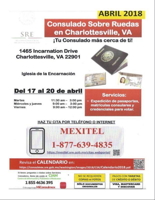 April 17th-20th-Consulado Sobre Ruedas en Charlottesville